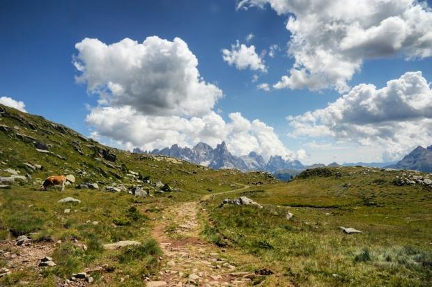 Foto: Le Pale di san Martino salendo dal passo Lusia