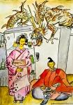 Illustrazione da passeggio : il guardiano - raccontare - dragone a guardia del frigo